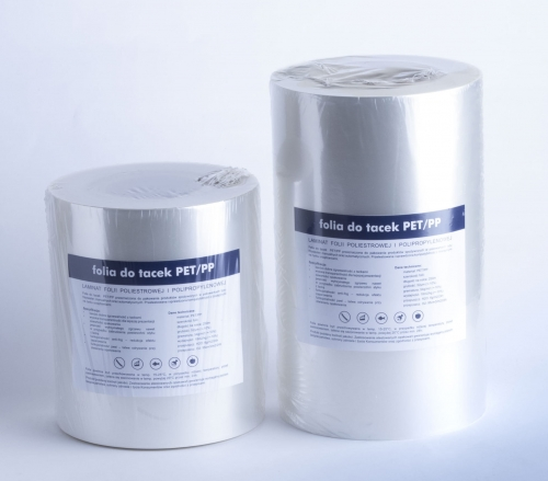 Folia do tacek PET/PP z peel i antifog 185mm x50um x250m